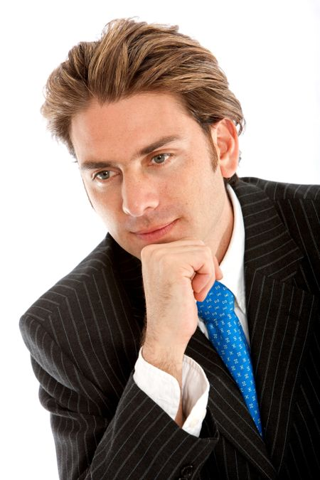 Thoughtful businessman portrait isolated on white