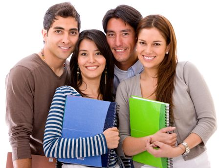 group of students smiling isolated over a white background