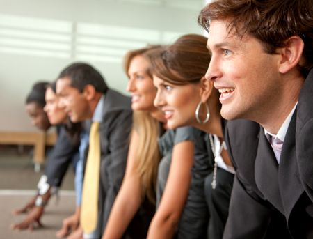 Group of people ready to race in a business competition in an office