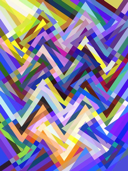 Complex multicolored abstract of crisscrossing zigzags