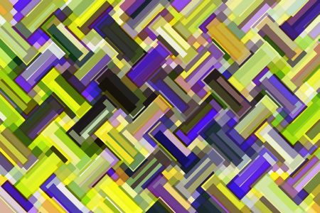 Kaleidoscopic multicolored abstract mosaic of rectangles and near-rectangles in a loosely zigzag pattern