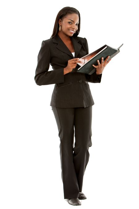 Beautiful business woman with a folder over a white background