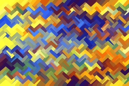 Multicolored angular abstract of zigzagging polygons interlocked as if woven together