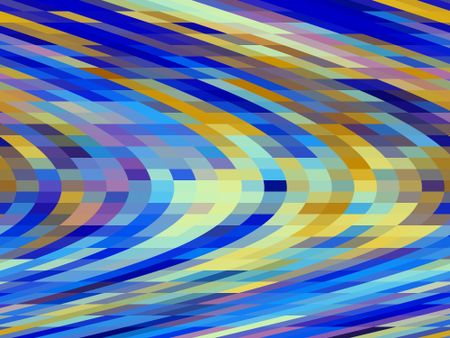 Multicolored geometric mosaic abstract of solid quadrilaterals, many pastel, in rows with sheared effect