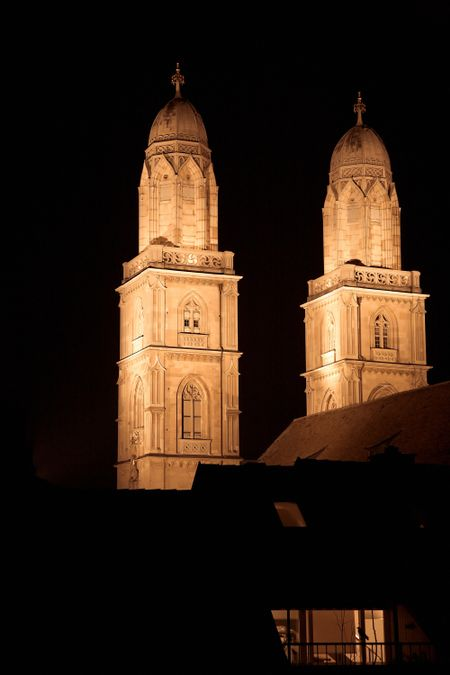 zurich cathedral at night beautifully illuminated