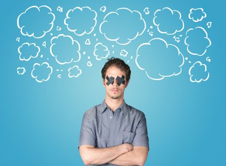 Funny person with taped mouth and hand drawn clouds around head