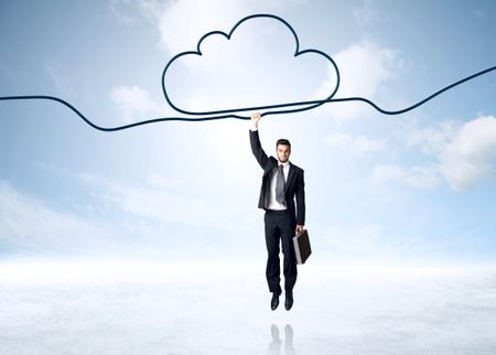 Businessman hanging on a cloud rope