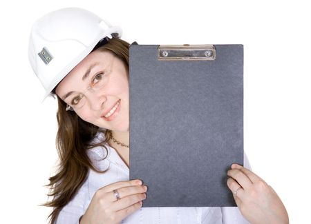 friendly female architect holding a folder up over a white background