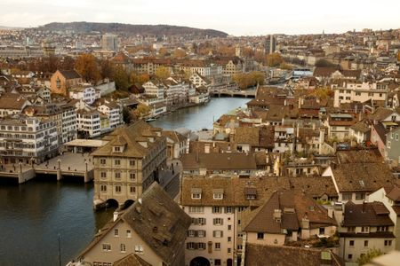 zurich skyline - river view - aged colours