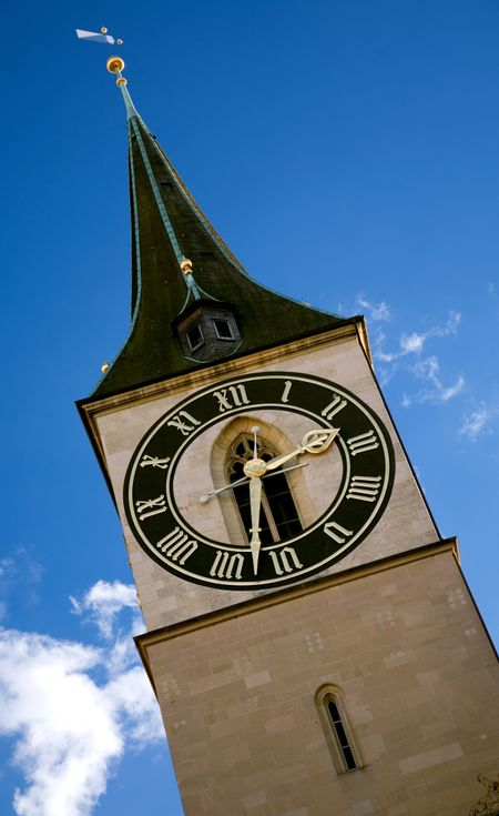 zurich clock tower in a sunny day