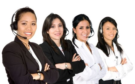 females only customer service team over a white background