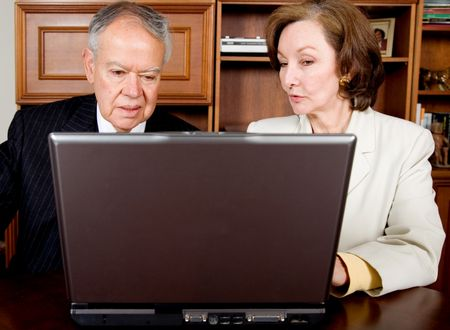 business senior couple on a laptop in their office