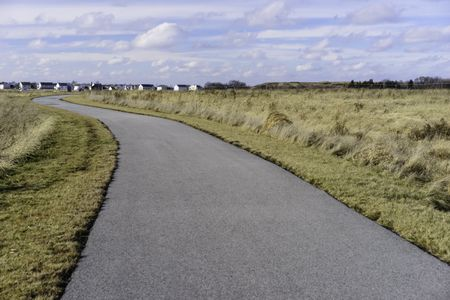 Prairie trail in winter: Wide paved path winding across a prairie preserve near a housing development on a winter day remarkable for lack of snow in northern Illinois, USA