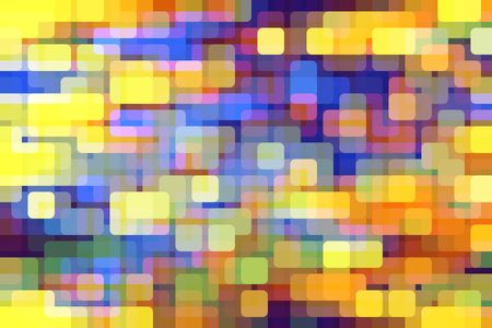 Multicolored abstract mosaic of rounded squares like city lights on an urban grid, overlapping for illusion of three dimensions
