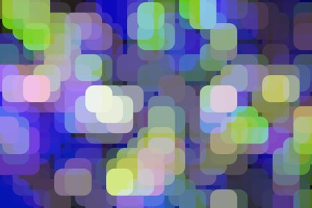 Multicolored background abstract of many rounded squares with geometric alignment, as on a grid, overlapping for three-dimensional effect