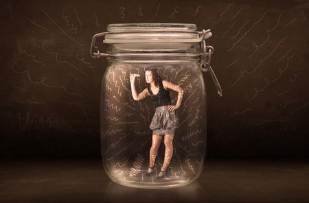 Businesswoman inside a jar with powerful hand drawn lines concept on bakcground