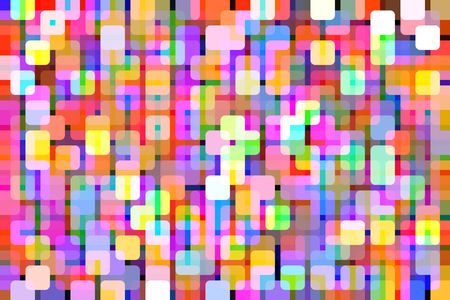 Patterned multicolored nocturnal abstract of rounded squares overlapping for 3-D effect, like so many city lights, for themes of repetition and multiplicity