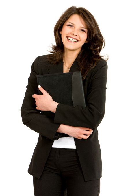 smiley business woman carrying a portfolio over a white background