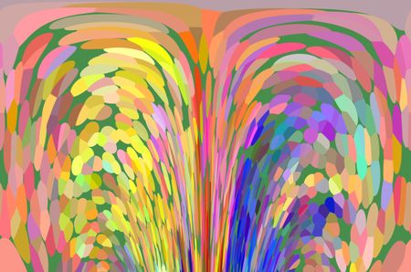 Impressionistic abstract of a multicolored fountain for themes of duality, eruption, and display