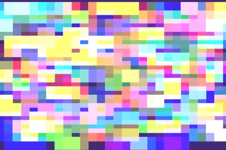 Multicolored abstract mosaic of a variety of rectangles, many pastel, for themes of geometric order and multiplicity