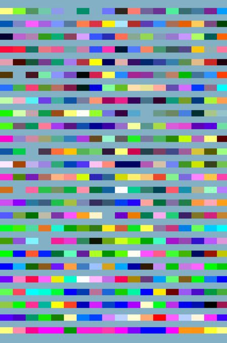 Multicolored geometric abstract mosaic of segmented parallel stripes on blue-green background