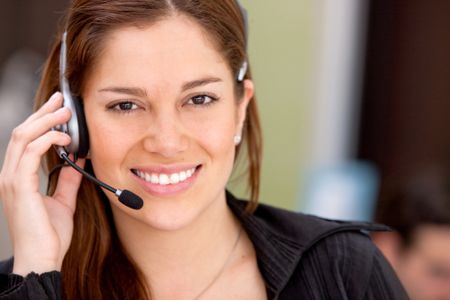 business customer operator smiling in an office