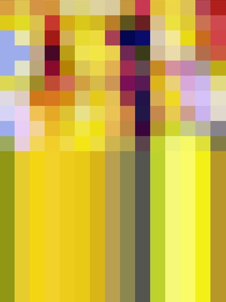 Multicolored half-and-half abstract consisting of a mosaic on top and parallel stripes at bottom