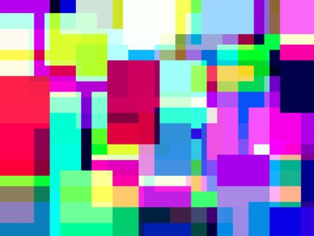 Abstract mosaic of overlapping squares and rectangles with loud tropical colors