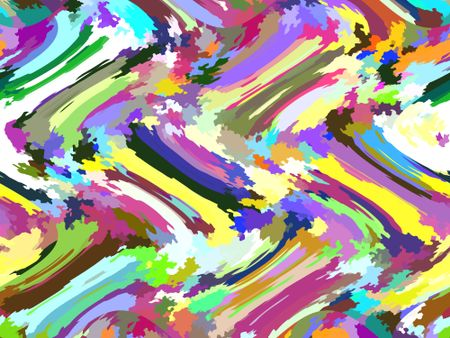 Kaleidoscopic abstract of streaks and clusters of irregular polygons in multiple colors of spring and summer