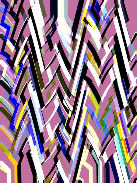 Geometric multicolored abstract with pink background
