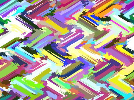 Painterly multicolored two-dimensional abstract with zigzag pattern of diagonal strokes interspersed with polygonal splashes