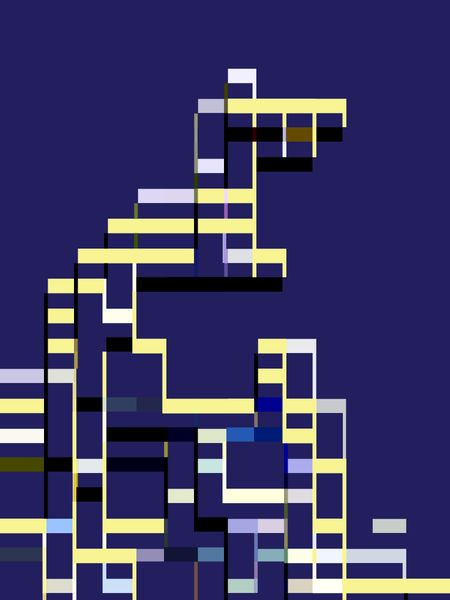 Architectural abstract framework of interconnected bars, predominantly a pastel yellow, on blue