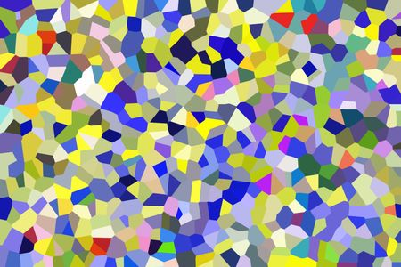 Multicolored crystallized two-dimensional abstract of irregular, interlocking polygons
