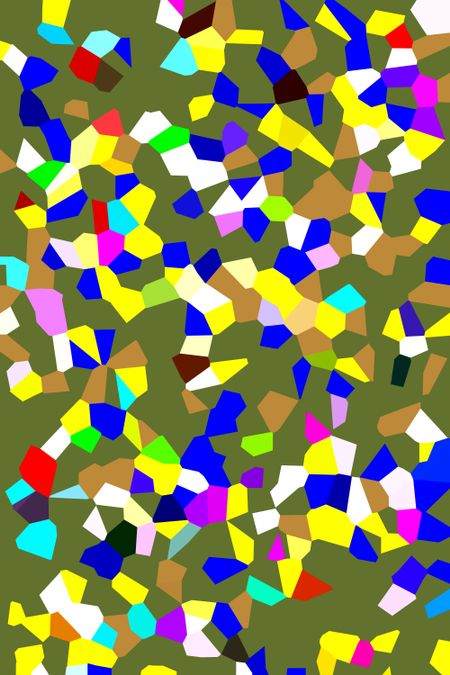 Festive parti-colored two-dimensional abstract of irregular polygons that seem to be falling in front of green background