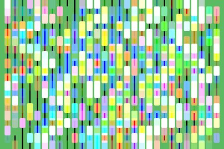 Bright multicolored geometric abstract with rounded rectangles, connected by thin vertical bars, in columns, like part of a bead curtain, on light green background