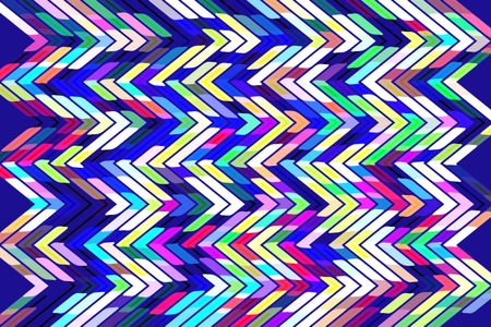 Bright geometric abstract with multicolored zigzags in a snazzy pattern on dark blue background