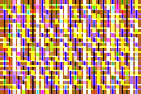 Bright multicolored geometric abstract of rounded rectangles on a grid, with orange background