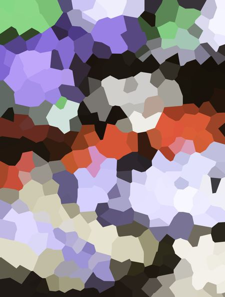 Multicolored crystallized abstract of asymmetrical interlocking polygons