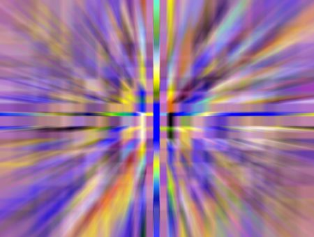 Multicolored abstract illustration of wormhole with radial blur seen from starship accelerating at warp speed