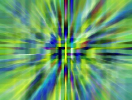 Parti-colored abstract illustration of wormhole with radial blur seen from starship accelerating at warp speed 2