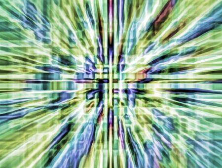 Abstract parti-colored illustration of wormhole with radial blur seen from starship accelerating at warp speed 4