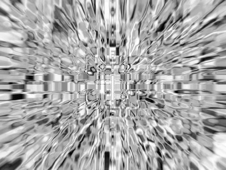 Impressionistic abstract, in black and white, of wormhole with radial blur seen from starship accelerating at warp speed 8