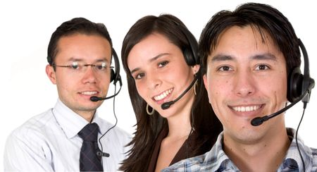 customer service team over a white background