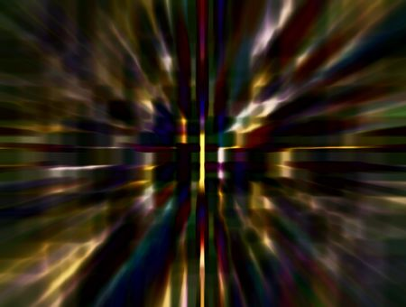 Hallucinatory abstract of narrow wormhole with radial blur seen from starship accelerating at warp speed 27