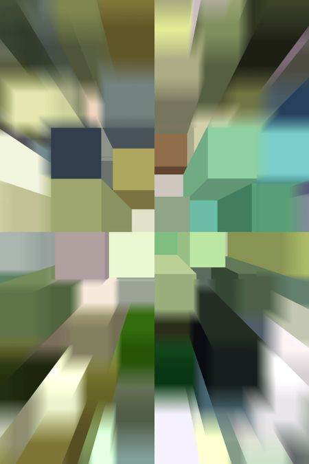 Geometric 3-D abstract illustration of city block with zoom blur, aerial view