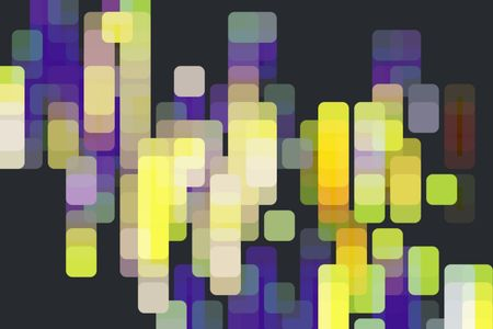 Multicolored abstract of overlapping rounded squares, like a grid of city lights, on black