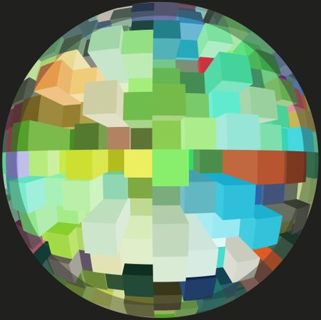 Office world by day: Multicolored abstract of many skyscrapers inside a sphere, isolated on black