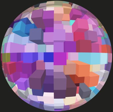 Office world: Abstract of parti-colored skyscrapers inside a sphere, isolated on black