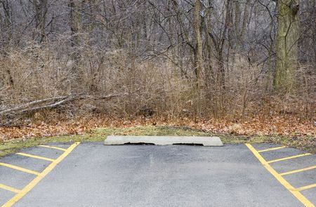 Parking space in wilderness in winter