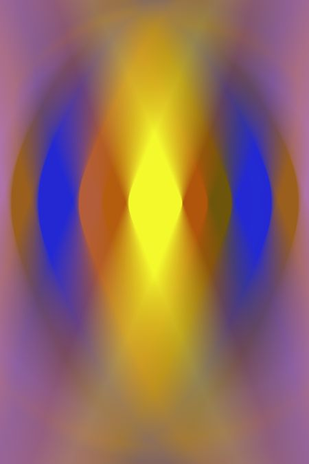 Warm varicolored abstract of mysterious yellow diamond shape at the center of an oval with several layers, all with radial blur